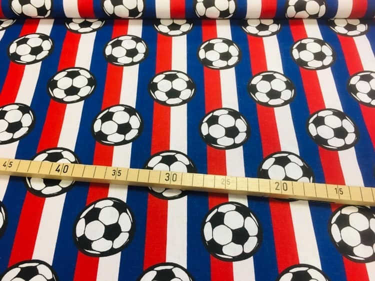 Baumwolle Fussball Blau Rot Weiss